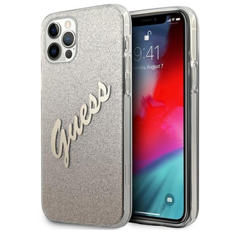 Guess Glitter Gradient Script - Etui iPhone 12 Pro Max (złoty)