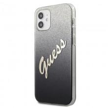 Guess Glitter Gradient Script - Etui iPhone 12 mini (czarny)