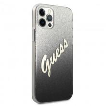 Guess Glitter Gradient Script - Etui iPhone 12 Pro Max (czarny)