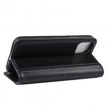 Crong Premium Booklet Wallet - Skórzane etui iPhone 11 Pro z kieszeniami + funkcja podstawki (czarny)