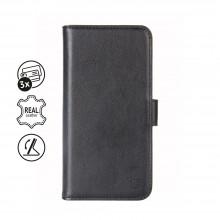 Crong Premium Booklet Wallet - Skórzane etui iPhone 11 z kieszeniami + funkcja podstawki (czarny)
