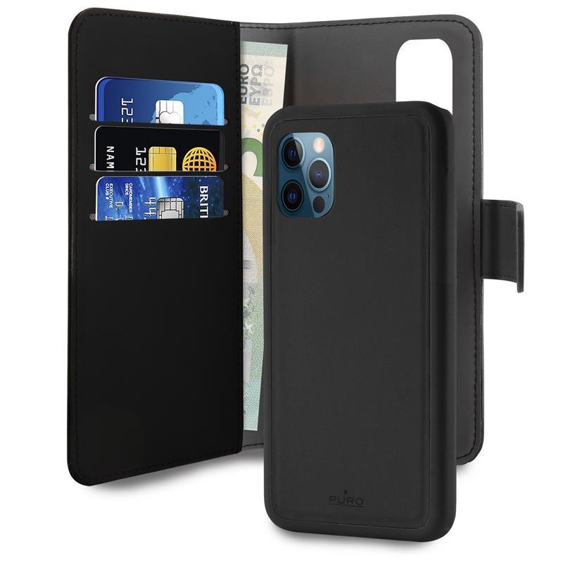 PURO Wallet Detachable - Etui 2w1 iPhone 12 Pro Max (czarny)