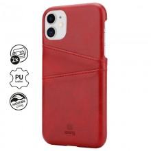 Crong Neat Cover - Etui iPhone 11 z kieszeniami (czerwony)
