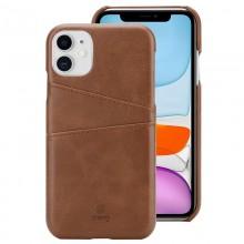 Crong Neat Cover - Etui iPhone 11 z kieszeniami (brązowy)