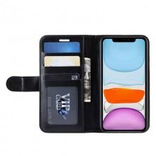 Crong Booklet Wallet - Etui iPhone 11 Pro Max z kieszeniami + funkcja podstawki (czarny)