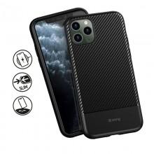 Crong Prestige Carbon Cover - Zestaw etui iPhone 11 Pro (czarny) + szkło hybrydowe 9H