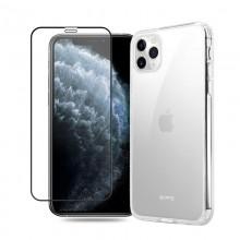 Crong Crystal Shield Cover - Zestaw etui iPhone 11 Pro (przezroczysty) + szkło hybrydowe 9H