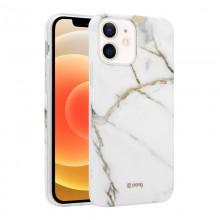 Crong Marble Case - Etui iPhone 12 Mini (biały)