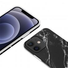 Crong Marble Case - Etui iPhone 12 Mini (czarny)