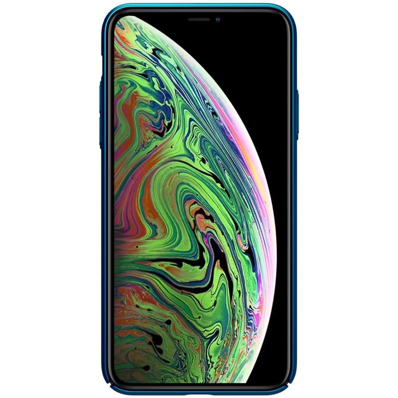 Nillkin Super Frosted Shield - Etui Apple iPhone 11 Pro Max z wycięciem na logo (Peacock Blue)