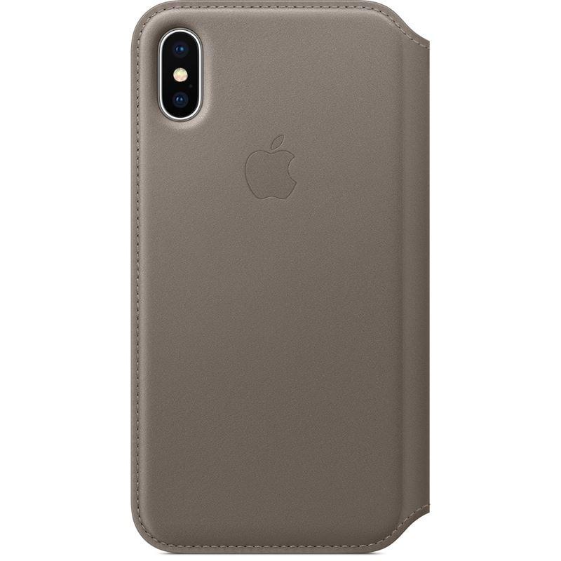 Apple Leather Folio - Skórzane etui iPhone X z kieszeniami na karty (jasnobeżowy)