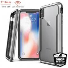 X-Doria Defense Shield - Etui aluminiowe iPhone Xs Max (Drop test 3m) (Silver/Clear)