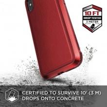 X-Doria Defense Lux - Etui aluminiowe iPhone Xs / X (Drop test 3m) (Red Leather)