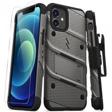 Zizo Bolt Cover - Pancerne etui iPhone 12 / iPhone 12 Pro ze szkłem 9H na ekran + podstawka & uchwyt do paska (szary)