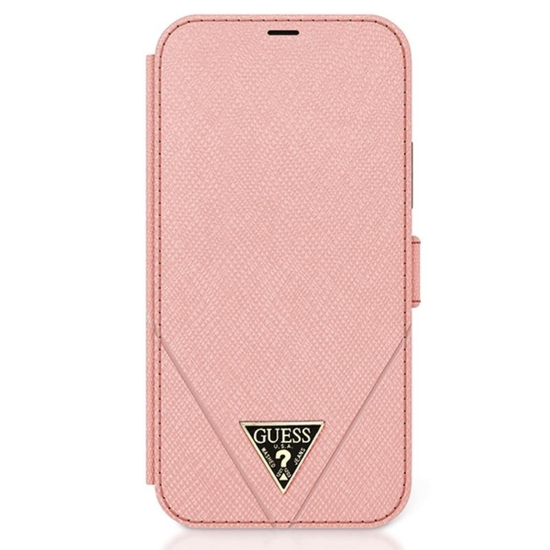 Guess Booktype Saffiano V – Etui iPhone 12 / iPhone 12 Pro (różowy)