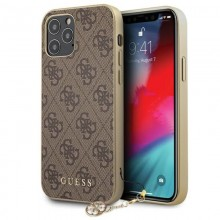 Guess 4G Charms Collection - Etui iPhone 12 / iPhone 12 Pro (brązowy)