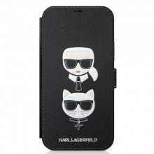 Karl Lagerfeld Booktype Saffiano Karl & Choupette Heads - Etui 12 / iPhone 12 Pro (czarny)