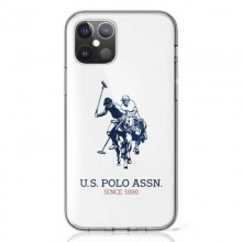US Polo Assn Big Double Horse Logo - Etui iPhone 12 / iPhone 12 Pro (biały)