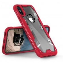 Zizo Proton Case - Pancerne etui iPhone X ze szkłem 9H na ekran (Crimson Red/Trans Clear)