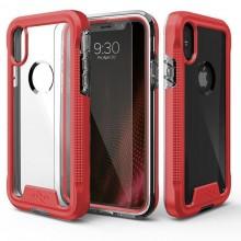 Zizo ION Cover - Pancerne etui iPhone X + szkło 9H na ekran (Red/Clear)