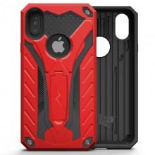 Zizo Static Cover - Pancerne etui iPhone X z podstawką (Red/Black)