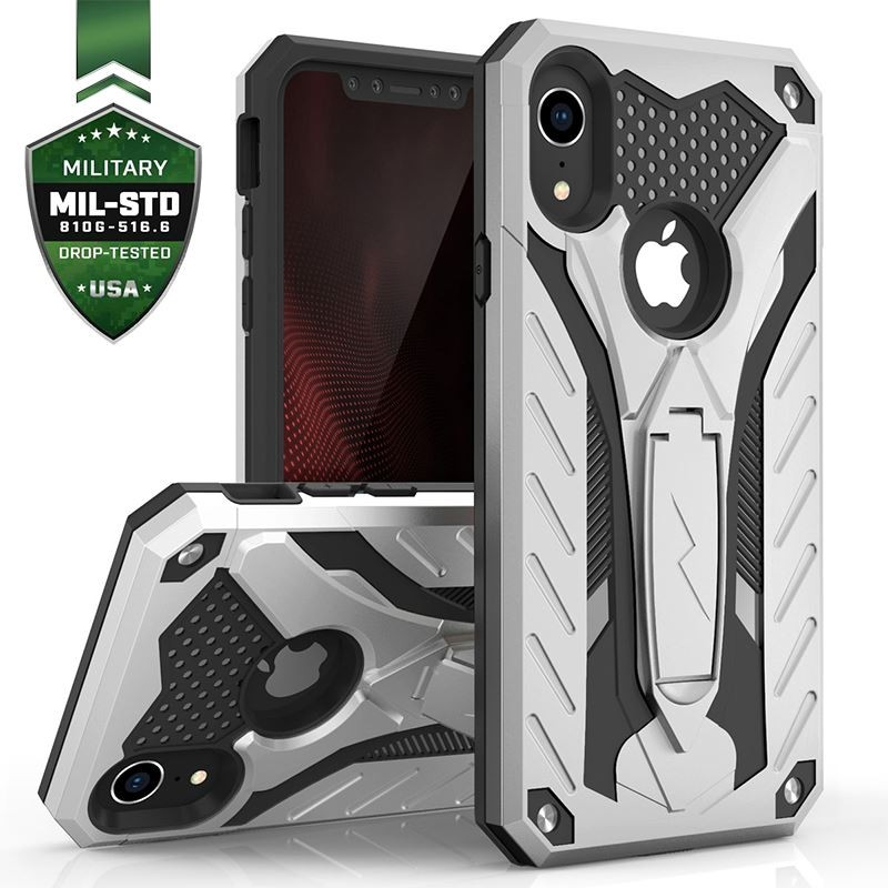 Zizo Static Cover - Pancerne etui iPhone XR z podstawką (Silver/Black)