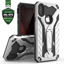 Zizo Static Cover - Pancerne etui iPhone Xs Max z podstawką (Silver/Black)
