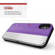 Zizo Retro Series - Etui iPhone Xs/ X z kieszenią na karty + podstawka + szkło 9H na ekran (Purple/Silver)