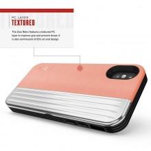 Zizo Retro Series - Etui iPhone Xs / X z kieszenią na karty + podstawka + szkło 9H na ekran (Peach/Silver)