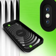 Zizo Retro Series - Etui iPhone Xs / X z kieszenią na karty + podstawka + szkło 9H na ekran (Neon Green/Silver)
