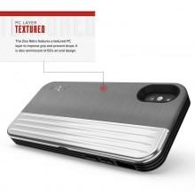 Zizo Retro Series - Etui iPhone Xs / X z kieszenią na karty + podstawka + szkło 9H na ekran (Gray/Silver)