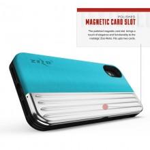 Zizo Retro Series - Etui iPhone Xs / X z kieszenią na karty + podstawka + szkło 9H na ekran (Baby Blue/Silver)