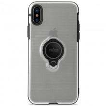 PURO Magnet Ring Cover - Etui iPhone Xs / X z magnetycznym uchwytem na palec (przezroczysty)