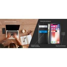 PURO Booklet Wallet Case - Etui iPhone XR z kieszeniami na karty + stand up (czarny)