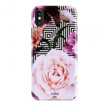 PURO Glam Geo Flowers - Etui iPhone Xs Max (Pink Peonies)