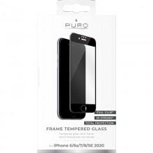 PURO Frame Tempered Glass - Szkło ochronne hartowane na ekran iPhone SE 2020 / 8 / 7 (czarna ramka)