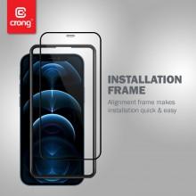Crong Anti-Bacterial 3D Armour Glass – Szkło hartowane 9H na cały ekran iPhone 12 / iPhone 12 Pro + ramka instalacyjna