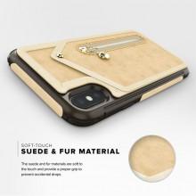 Zizo Nebula Wallet Case - Skórzane etui iPhone X z kieszeniami na karty + saszetka na zamek + szkło 9H na ekran (Tan/Brown)