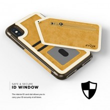 Zizo Nebula Wallet Case - Skórzane etui iPhone X z kieszeniami na karty + saszetka na zamek + szkło 9H na ekran (Light Brown/Bro