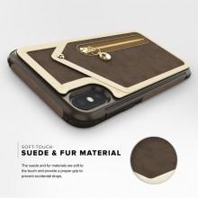 Zizo Nebula Wallet Case - Skórzane etui iPhone X z kieszeniami na karty + saszetka na zamek + szkło 9H na ekran (Dark Brown/Brow