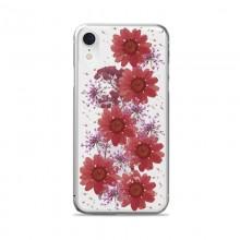 PURO Glam Hippie Chic Cover - Etui iPhone XR (prawdziwe płatki kwiatów czerwone)