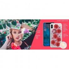 PURO Glam Hippie Chic Cover - Etui iPhone XR (prawdziwe płatki kwiatów zielone)
