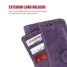 Zizo Slide Out Wallet Pouch - Skórzane etui iPhone X z kieszeniami na karty wewnątrz oraz na zewnątrz etui + stand up (Purple)