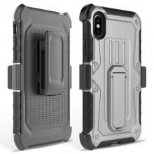 Zizo Heavy Duty Armor Case - Pancerne etui iPhone X z podstawką + uchwyt do paska (Gray/Black)
