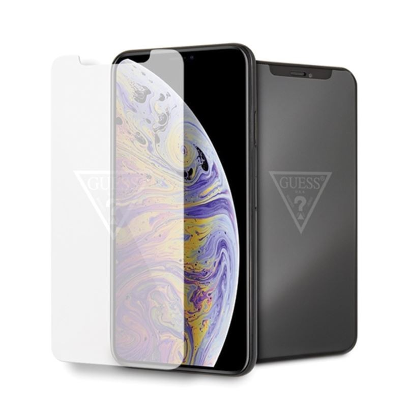 Guess Tempered Glass with invisible logo - Szkło ochronne hartowane iPhone Xs Max