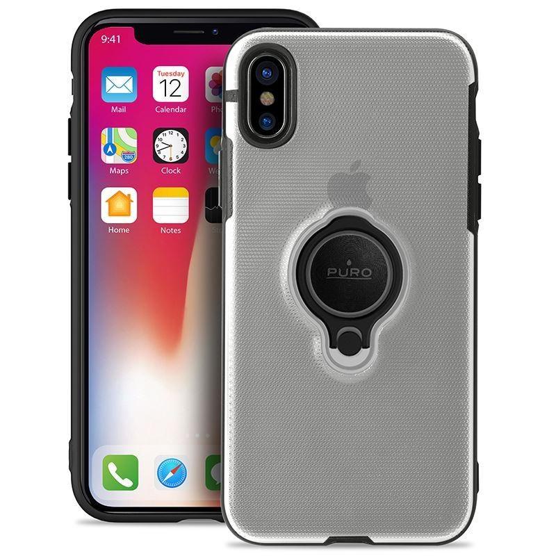 PURO Magnet Ring Cover - Etui iPhone XR z magnetycznym uchwytem na palec (przezroczysty)