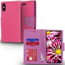 Zizo Flap Wallet Pouch - Etui iPhone X z kieszeniami na karty + stand up (Pink/Purple)