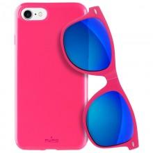 PURO Sunny Kit - Zestaw etui iPhone SE 2020 / 8 / 7 + składane okulary przeciwsłoneczne (różowy)