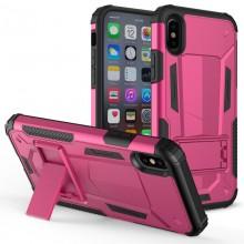 Zizo Hybrid Transformer Cover - Pancerne etui iPhone X z podstawką (Hot Pink/Black)