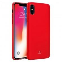 Crong Smooth Skin - Etui iPhone Xs / X (czerwony)